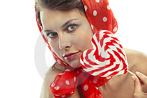 Woman With Heart Shaped Lollipop Stock Images - Image: 19612164