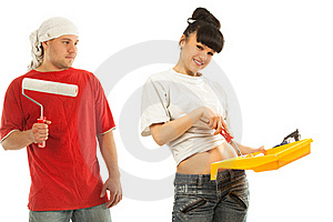 Workers Preparing To Painting A Wall Royalty Free Stock Photo - Image: 19612195