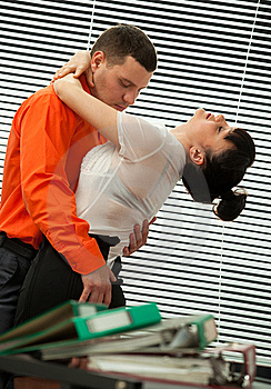 Passionate Embraces Of Colleague Royalty Free Stock Images - Image: 19612199