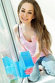 Girl Washing The Window Stock Image - Image: 19612251