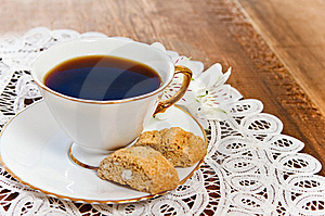 Cookies And Coffee With Flower Stock Images - Image: 19612404