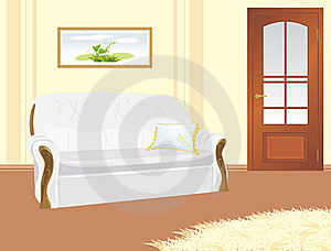 Sofa With Pillow. Fragment Of Living Room Royalty Free Stock Image - Image: 19614036