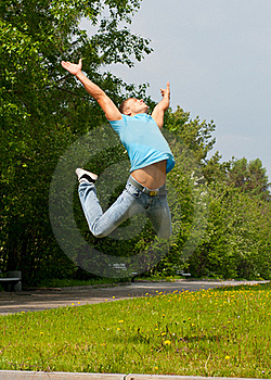 Young Man Jumping In Air Royalty Free Stock Photo - Image: 19615475