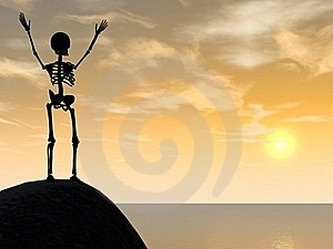 Skeleton Climber Silhouette On Top Of Rock Stock Photos - Image: 19616653