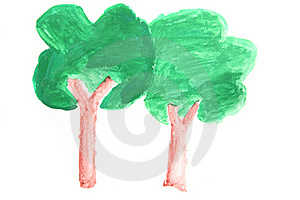 Tree In Watercolour Stock Photo - Image: 19617230