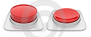 Red Button Isolated On White Background. Danger Royalty Free Stock Photos - Image: 19617248