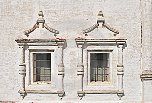 Two Vintage Windows In Ancient Monastery Royalty Free Stock Photos - Image: 19618838