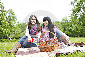 Mother And Daughter Relaxing Outdoors Royalty Free Stock Photos - Image: 19619288