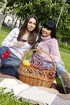 Mother And Daughter Drinking Wine Outdoors Royalty Free Stock Images - Image: 19619369