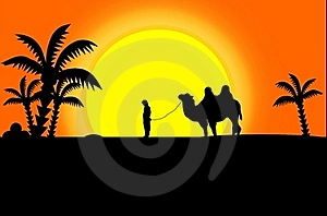 Black Silhouettes Of Camel And Man Royalty Free Stock Photo - Image: 19619395
