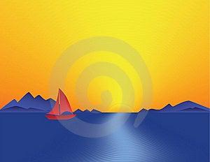 Mountain Bay Sunset Stock Photos - Image: 19620433