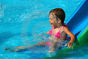 The Little Girl In Water Pool Royalty Free Stock Photography - Image: 19620877