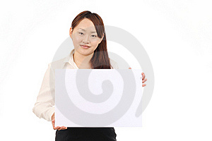 Young Business Woman Holding Empty White Board Royalty Free Stock Photography - Image: 19621477