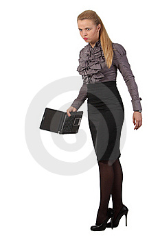 Angry Businesswoman With A Notebook Stock Images - Image: 19632974