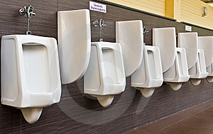 Row Of White Porcelain Urinals Stock Image - Image: 19634811