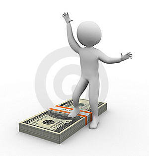 3d Man With Ten Thousand Dollar Royalty Free Stock Photography - Image: 19638237