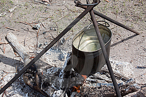 Preparing Food On Campfire Royalty Free Stock Photography - Image: 19640347