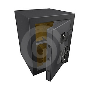 3d Metal Safe With Gold Bullion Royalty Free Stock Image - Image: 19641556