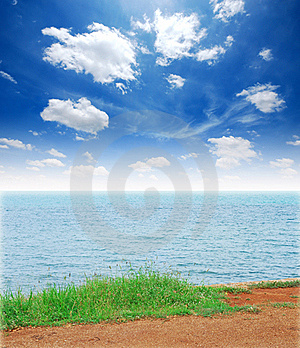 Green Grass Sea Sand Sun Beach Royalty Free Stock Photo - Image: 19642045