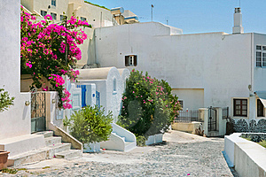 Colorful Old Street In Fira, Santorini Stock Image - Image: 19642571