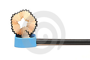 Sharpened Pencil And Wood Shavings Royalty Free Stock Images - Image: 19645079