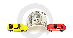Money And Car Royalty Free Stock Photography - Image: 19645517