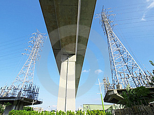 Viaduct And Electric Towers Stock Image - Image: 19646611
