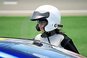 Attractive Woman In Motoracer Uniform Royalty Free Stock Image - Image: 19647816
