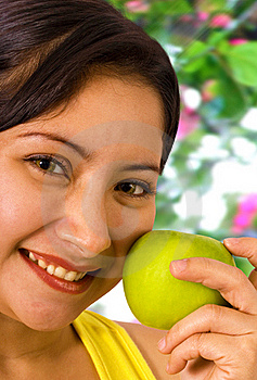 Young Lady About To Eat An Apple Royalty Free Stock Photo - Image: 19652745