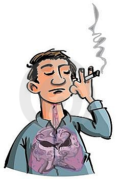 Cartoon Of Evil Smoke Filling A Smokes Lungs Stock Photo - Image: 19653620