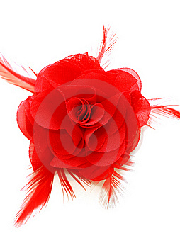 Red Silk Woman Brooch Isolated On White Royalty Free Stock Images - Image: 19653889