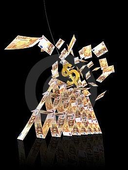 Zawalenia Się Dolarowy Euro Strajka Wierza Obraz Stock - Obraz: 19654571