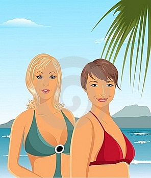 Two Girls On The Beach Royalty Free Stock Images - Image: 19654639