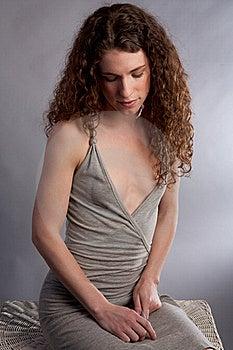 Demure Woman In Gray Dress Stock Image - Image: 19658471