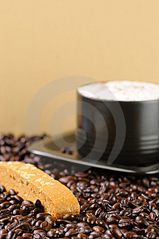 Cappuccino Coffee With Caramel Biscotti Stock Photo - Image: 19660240