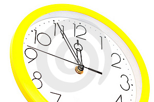 Yellow Wall Clock Royalty Free Stock Photo - Image: 19661095