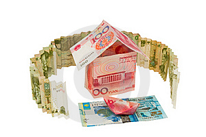 House And Boat On The River Of Money Royalty Free Stock Images - Image: 19661199