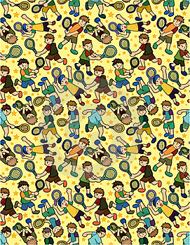Cartoon Tennis Players Seamless Pattern Royalty Free Stock Photos - Image: 19661248
