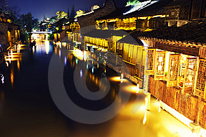 Ancient Chinese Village At Night Royalty Free Stock Photos - Image: 19661808