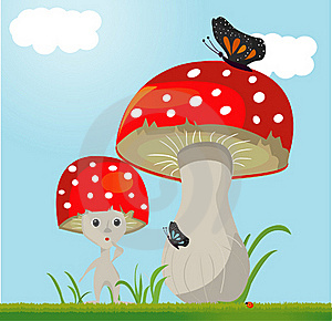 Mushroom Whit Butterfy Royalty Free Stock Image - Image: 19662806