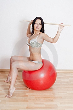 Woman Witt Fitball And Toning Bar Stock Photos - Image: 19663623