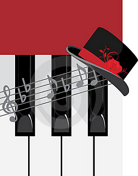 Piano Keys And Female Hat Stock Photo - Image: 19667380