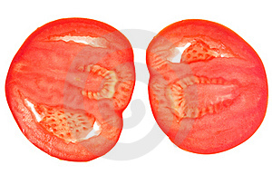 Two Slices Of Red Tomato Stock Photography - Image: 19669492