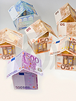 Houses From Euro Banknotes Stock Image - Image: 19669501
