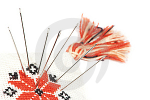 A Set Of Nails Inside Of Pincushion Isolated Royalty Free Stock Photos - Image: 19670698