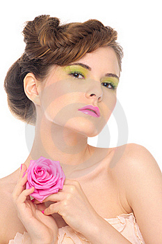 Beautiful Blonde With Pink Rose Royalty Free Stock Photos - Image: 19671528