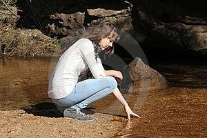 Teen Girl At Riverbed Royalty Free Stock Photo - Image: 19676225