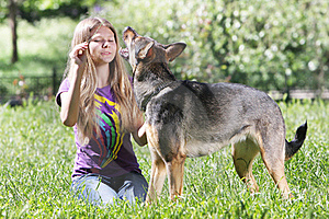 Teen Girl With Dog Royalty Free Stock Image - Image: 19676436