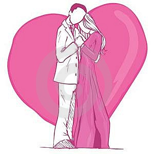 Valentines Card Design Of Couple In Pink Stock Photo - Image: 19682400