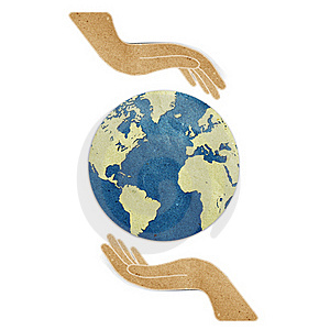 Earth In Hands Recycled Paper Craft Royalty Free Stock Photos - Image: 19684898
